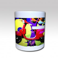 "Taza Cerámica ""Vespa Acid Graff 1980"" fondo Color"