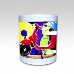 "Taza Cerámica ""Vespa Graff 1980"" fondo Color"